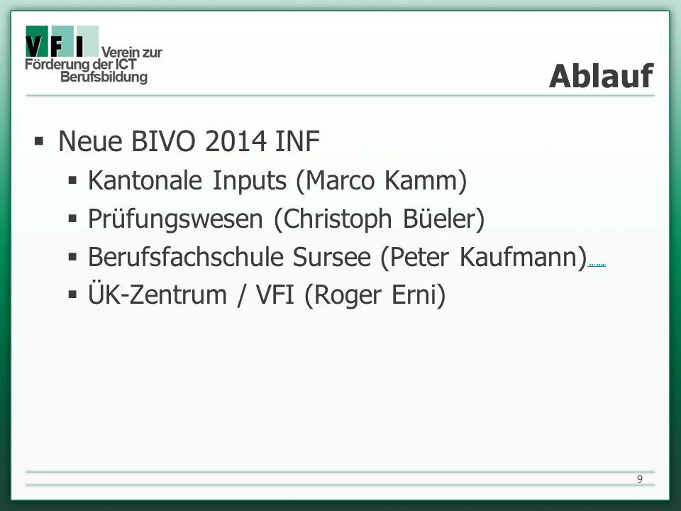 Ablauf Neue BIVO 2014 INF Kantonale Inputs (Marco Kamm) Prüfungswesen (Christoph Büeler) Berufsfachschule Sursee (Peter Kaufmann) ppt peter ppt peter