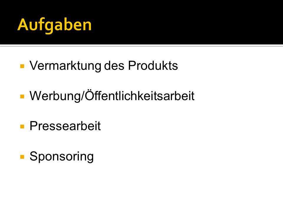 Vermarktung des Produkts Werbung/Öffentlichkeitsarbeit Pressearbeit Sponsoring