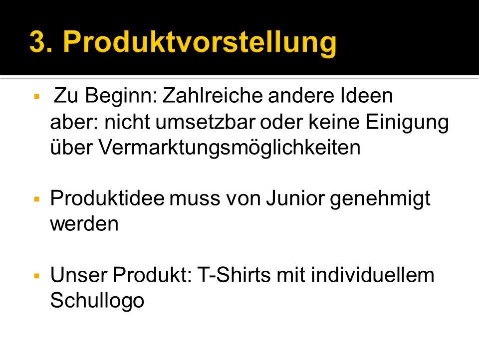 Zu Beginn: Zahlreiche andere Ideen aber: nicht umsetzbar oder keine Einigung über Vermarktungsmöglichkeiten Produktidee muss von Junior genehmigt werden Unser Produkt: T-Shirts mit individuellem Schullogo