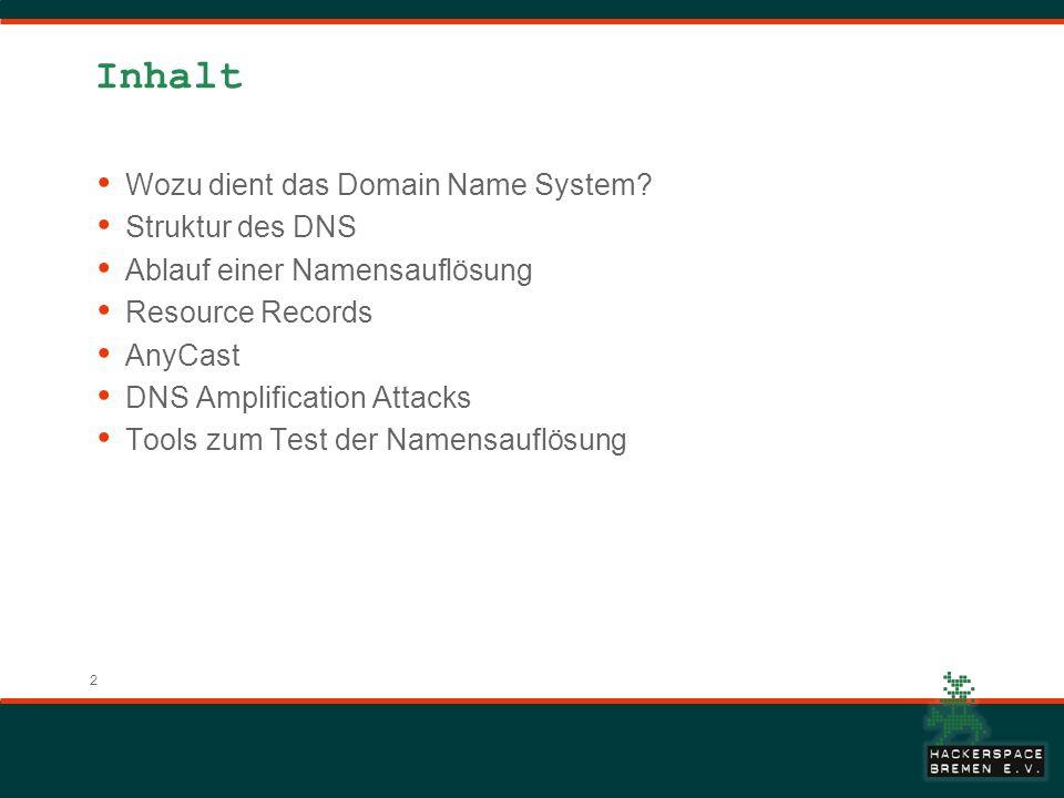 2 Inhalt Wozu dient das Domain Name System? Struktur des DNS Ablauf einer Namensauflösung Resource Records AnyCast DNS Amplification Attacks Tools zum