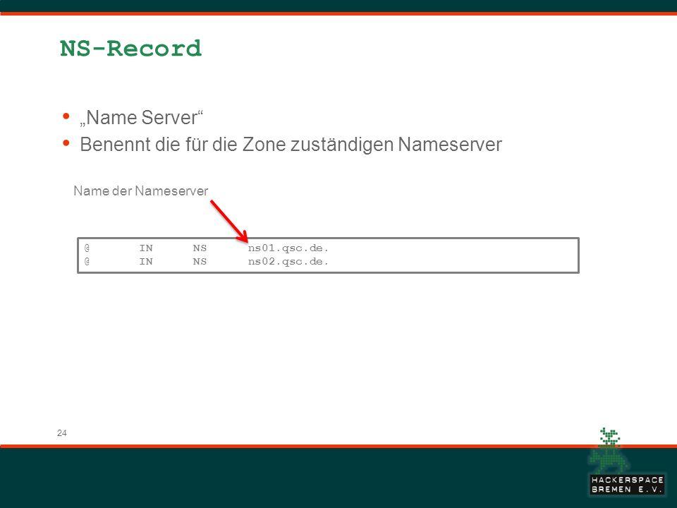 24 NS-Record Name Server Benennt die für die Zone zuständigen Nameserver @ IN NS ns01.qsc.de. @ IN NS ns02.qsc.de. Name der Nameserver