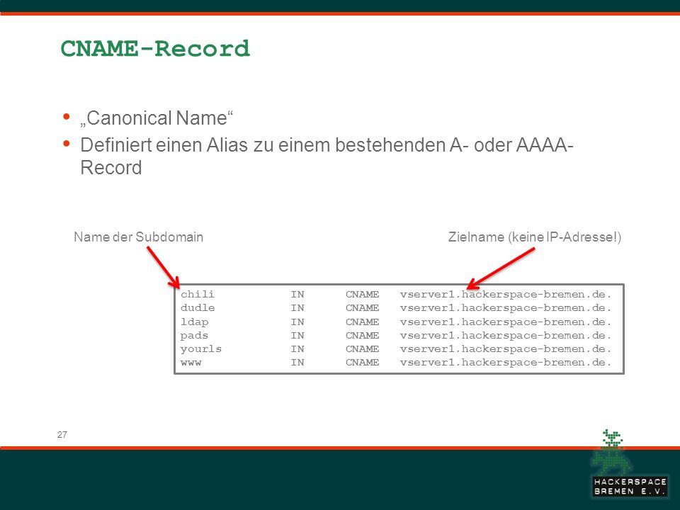 27 CNAME-Record Canonical Name Definiert einen Alias zu einem bestehenden A- oder AAAA- Record chili IN CNAME vserver1.hackerspace-bremen.de. dudle IN