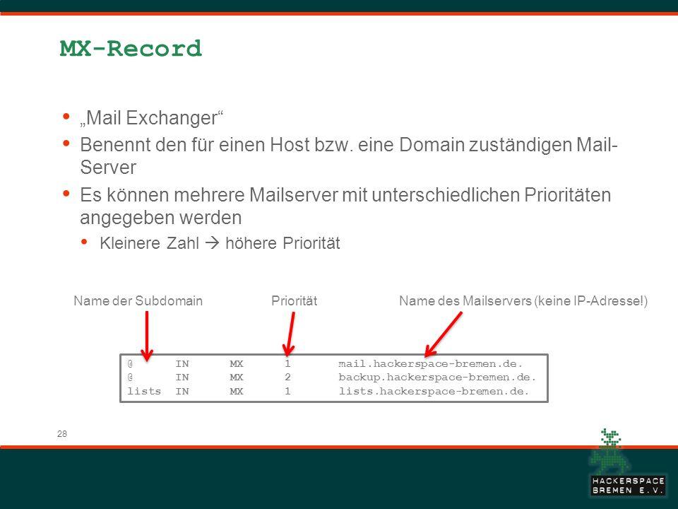 28 MX-Record Mail Exchanger Benennt den für einen Host bzw. eine Domain zuständigen Mail- Server Es können mehrere Mailserver mit unterschiedlichen Pr