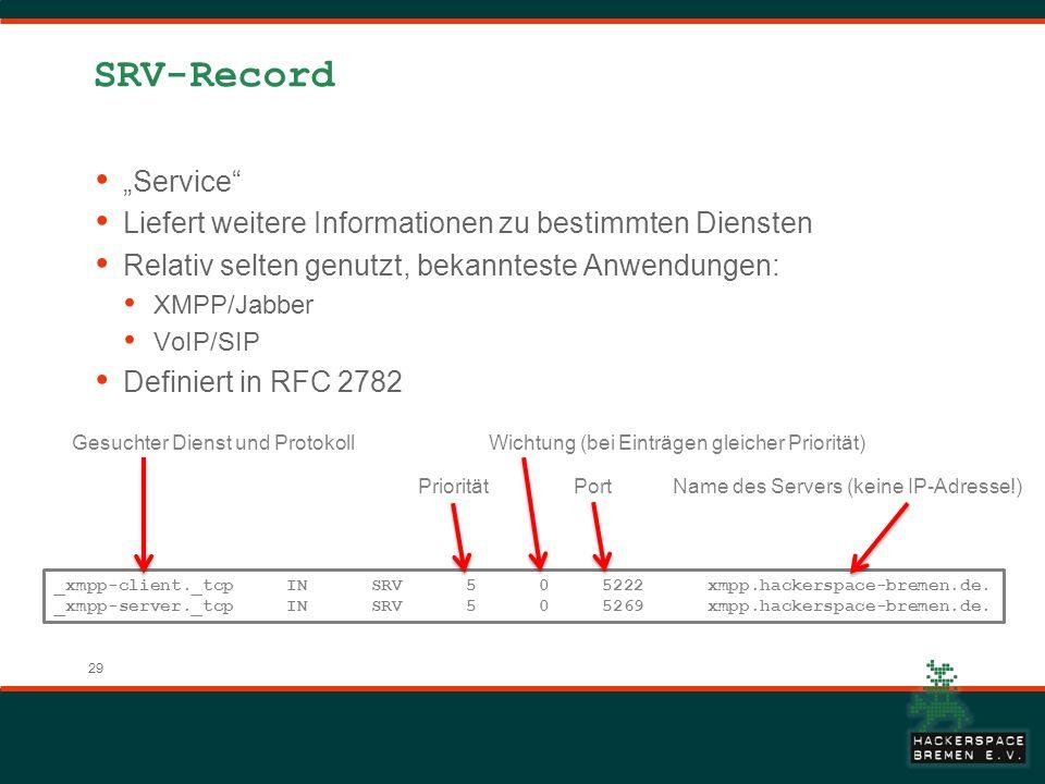 29 SRV-Record Service Liefert weitere Informationen zu bestimmten Diensten Relativ selten genutzt, bekannteste Anwendungen: XMPP/Jabber VoIP/SIP Definiert in RFC 2782 _xmpp-client._tcp IN SRV 5 0 5222 xmpp.hackerspace-bremen.de.