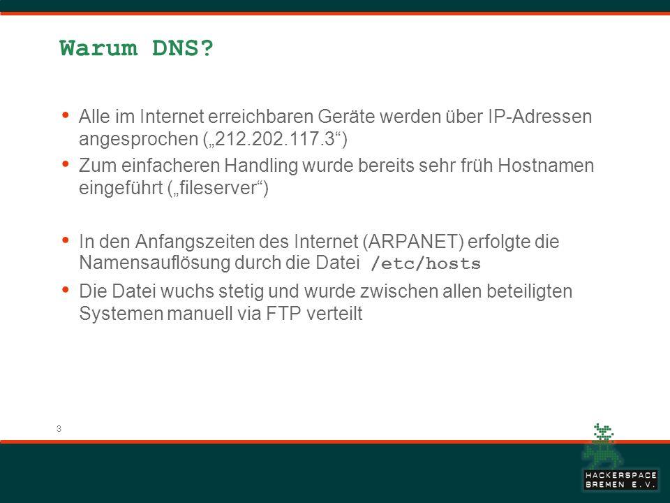 3 Warum DNS? Alle im Internet erreichbaren Geräte werden über IP-Adressen angesprochen (212.202.117.3) Zum einfacheren Handling wurde bereits sehr frü