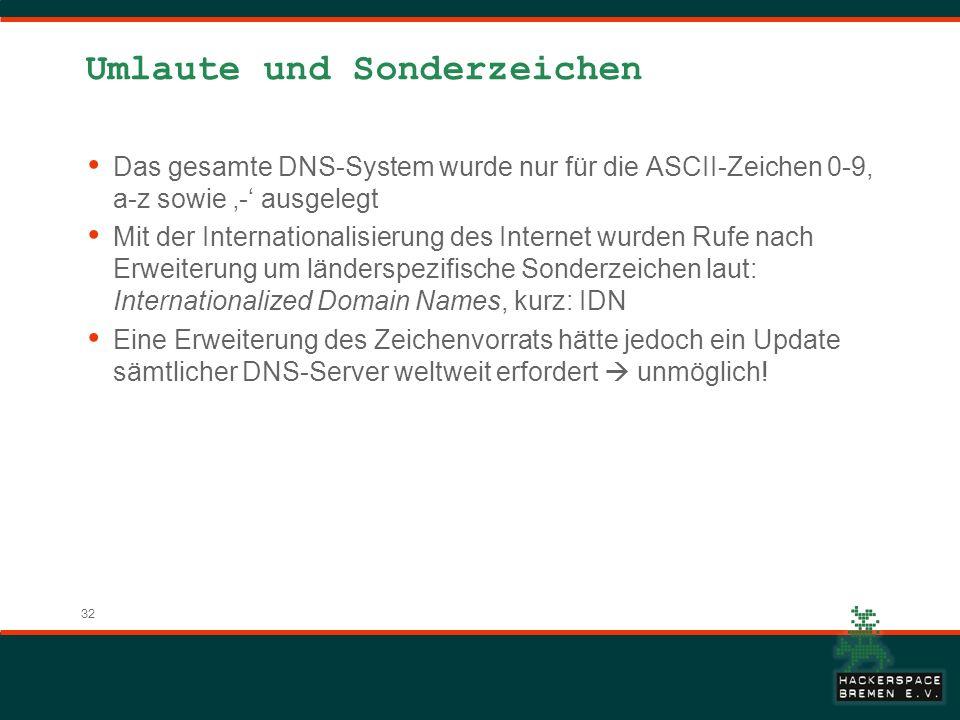 32 Umlaute und Sonderzeichen Das gesamte DNS-System wurde nur für die ASCII-Zeichen 0-9, a-z sowie - ausgelegt Mit der Internationalisierung des Inter