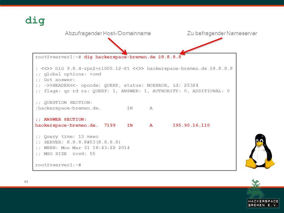 44 dig root@vserver1:~# dig hackerspace-bremen.de @8.8.8.8 ; > DiG 9.8.4-rpz2+rl005.12-P1 > hackerspace-bremen.de @8.8.8.8 ;; global options: +cmd ;;