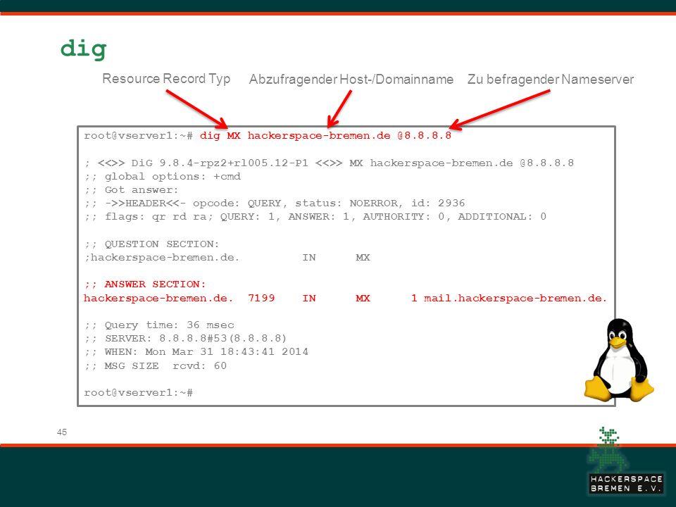 45 dig root@vserver1:~# dig MX hackerspace-bremen.de @8.8.8.8 ; > DiG 9.8.4-rpz2+rl005.12-P1 > MX hackerspace-bremen.de @8.8.8.8 ;; global options: +c