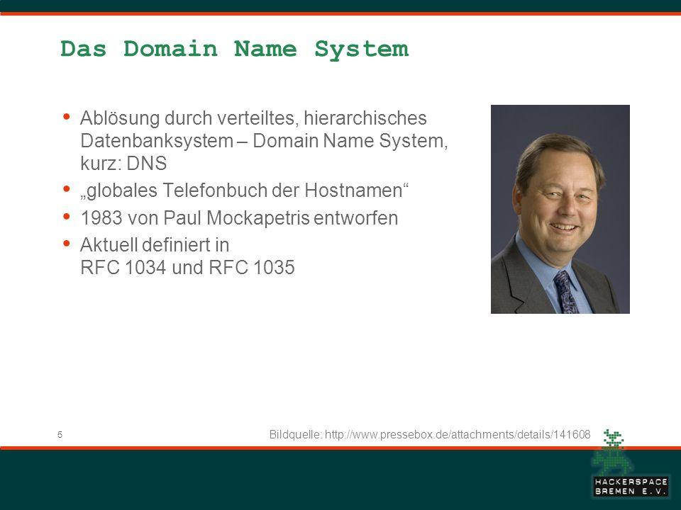 5 Das Domain Name System Ablösung durch verteiltes, hierarchisches Datenbanksystem – Domain Name System, kurz: DNS globales Telefonbuch der Hostnamen 1983 von Paul Mockapetris entworfen Aktuell definiert in RFC 1034 und RFC 1035 Bildquelle: http://www.pressebox.de/attachments/details/141608