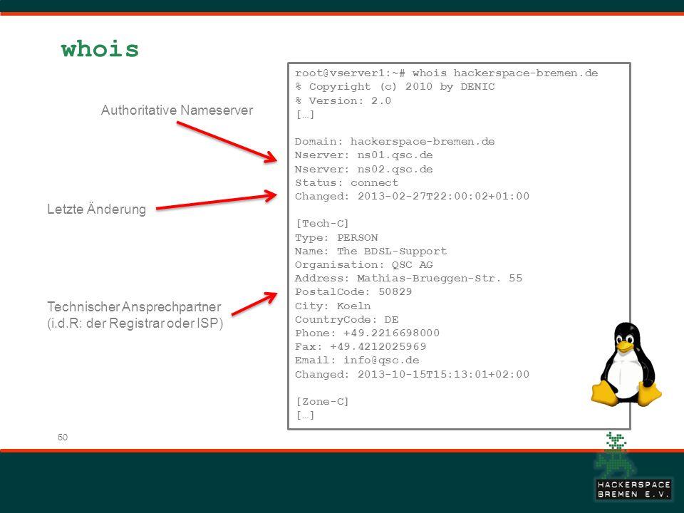 50 whois root@vserver1:~# whois hackerspace-bremen.de % Copyright (c) 2010 by DENIC % Version: 2.0 […] Domain: hackerspace-bremen.de Nserver: ns01.qsc.de Nserver: ns02.qsc.de Status: connect Changed: 2013-02-27T22:00:02+01:00 [Tech-C] Type: PERSON Name: The BDSL-Support Organisation: QSC AG Address: Mathias-Brueggen-Str.