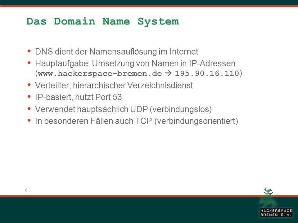 6 Das Domain Name System DNS dient der Namensauflösung im Internet Hauptaufgabe: Umsetzung von Namen in IP-Adressen ( www.hackerspace-bremen.de 195.90.16.110 ) Verteilter, hierarchischer Verzeichnisdienst IP-basiert, nutzt Port 53 Verwendet hauptsächlich UDP (verbindungslos) In besonderen Fällen auch TCP (verbindungsorientiert)