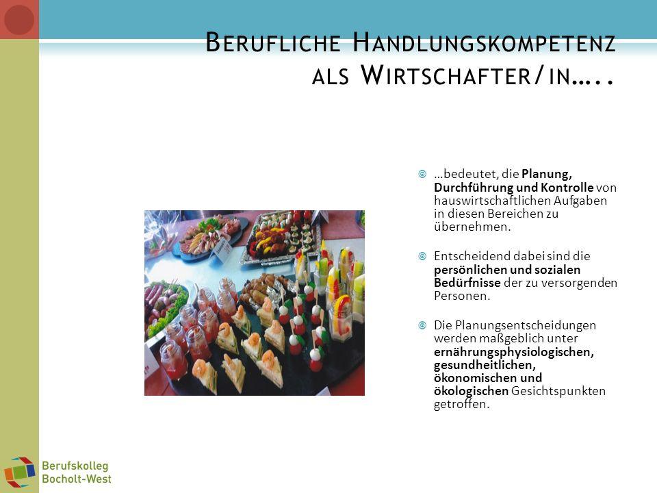 B ERUFLICHE H ANDLUNGSKOMPETENZ ALS W IRTSCHAFTER / IN ….. …bedeutet, die Planung, Durchführung und Kontrolle von hauswirtschaftlichen Aufgaben in die