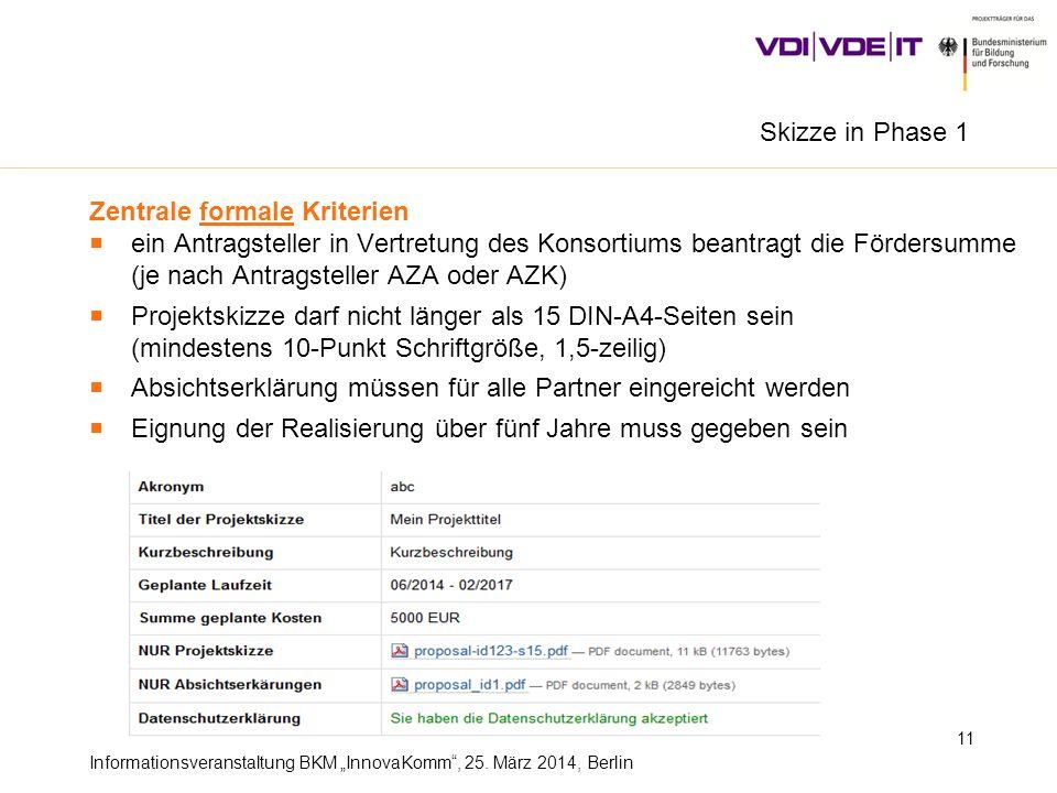 Informationsveranstaltung BKM InnovaKomm, 25. März 2014, Berlin 11 Zentrale formale Kriterien ein Antragsteller in Vertretung des Konsortiums beantrag