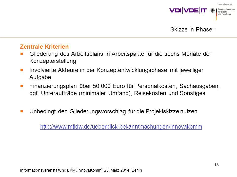Informationsveranstaltung BKM InnovaKomm, 25. März 2014, Berlin 13 Zentrale Kriterien Gliederung des Arbeitsplans in Arbeitspakte für die sechs Monate