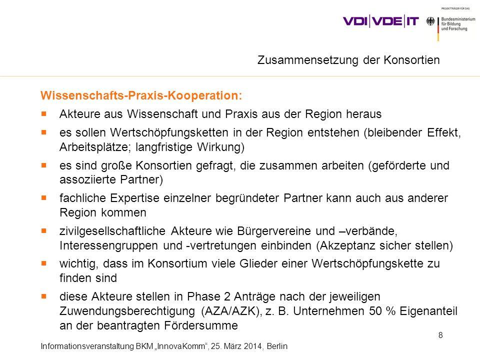 Informationsveranstaltung BKM InnovaKomm, 25. März 2014, Berlin 8 Wissenschafts-Praxis-Kooperation: Akteure aus Wissenschaft und Praxis aus der Region