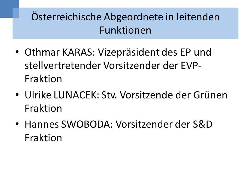 Österreichische Abgeordnete in leitenden Funktionen Othmar KARAS: Vizepräsident des EP und stellvertretender Vorsitzender der EVP- Fraktion Ulrike LUN