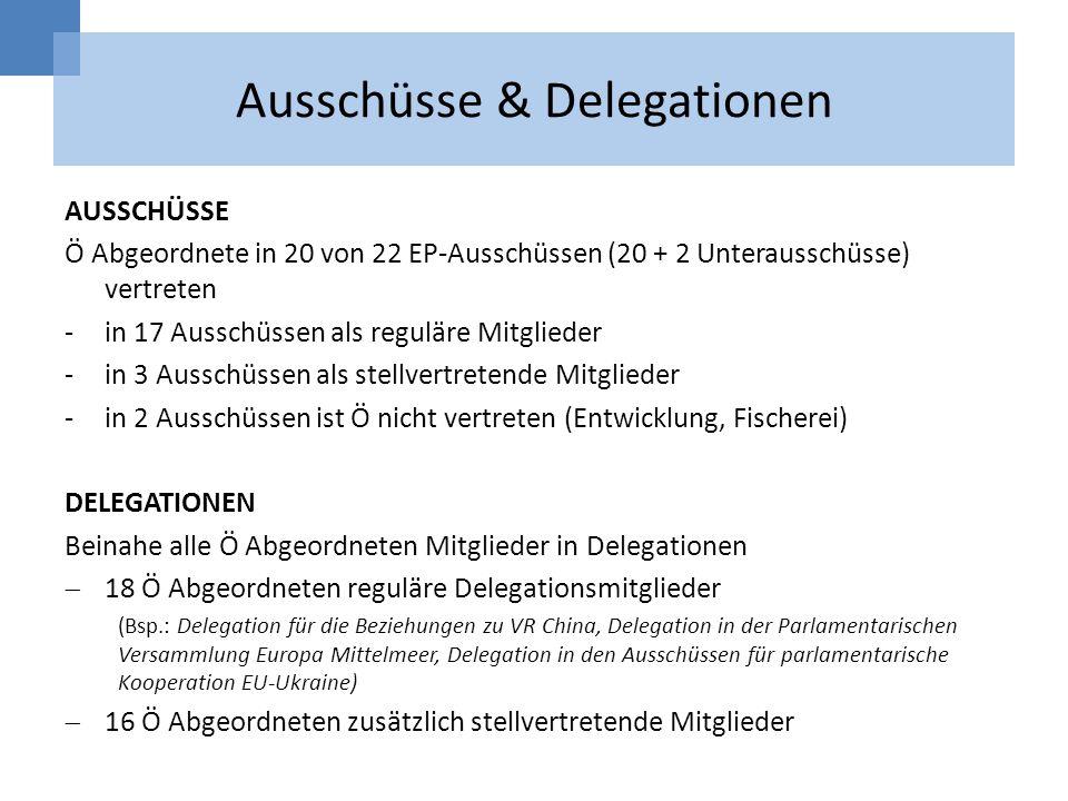 Ausschüsse & Delegationen AUSSCHÜSSE Ö Abgeordnete in 20 von 22 EP-Ausschüssen (20 + 2 Unterausschüsse) vertreten -in 17 Ausschüssen als reguläre Mitg
