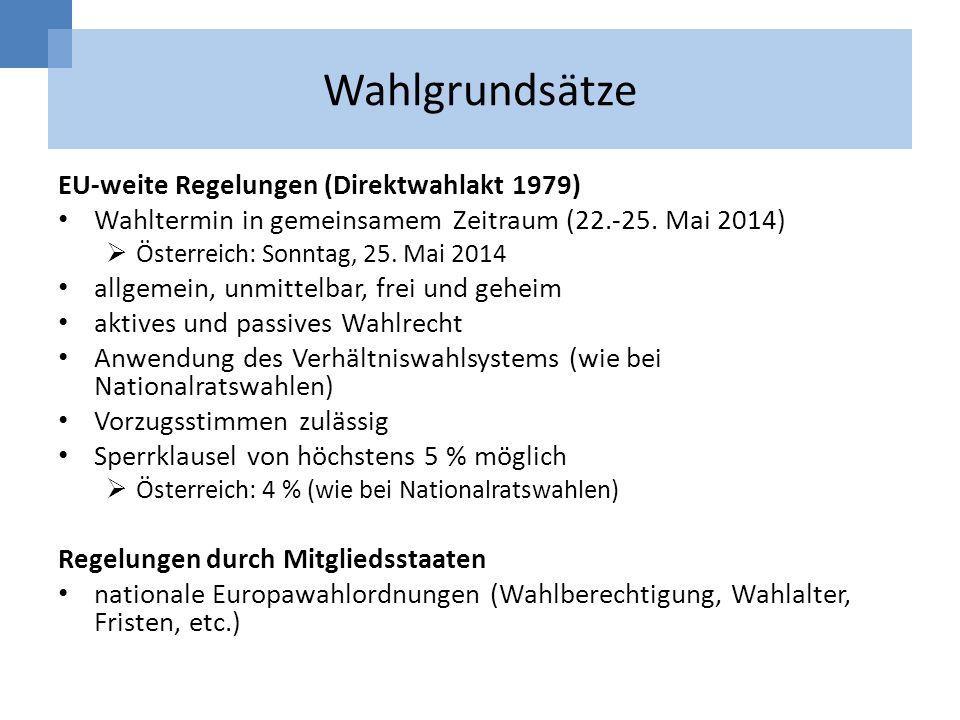 Wahlgrundsätze EU-weite Regelungen (Direktwahlakt 1979) Wahltermin in gemeinsamem Zeitraum (22.-25. Mai 2014) Österreich: Sonntag, 25. Mai 2014 allgem