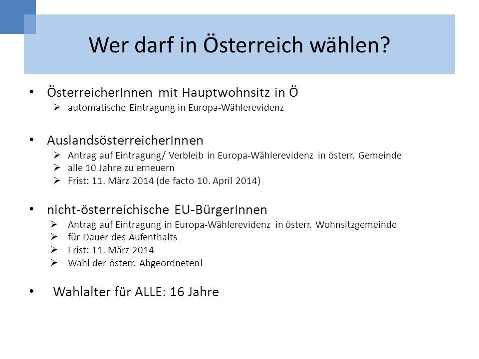 Wer darf in Österreich wählen? ÖsterreicherInnen mit Hauptwohnsitz in Ö automatische Eintragung in Europa-Wählerevidenz AuslandsösterreicherInnen Antr