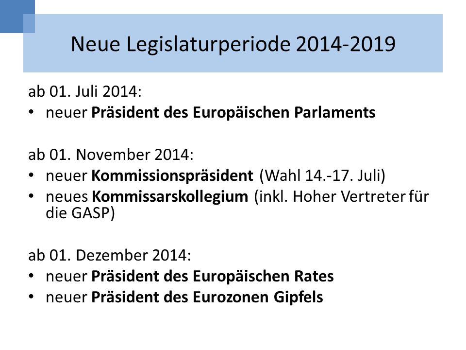 Neue Legislaturperiode 2014-2019 ab 01. Juli 2014: neuer Präsident des Europäischen Parlaments ab 01. November 2014: neuer Kommissionspräsident (Wahl