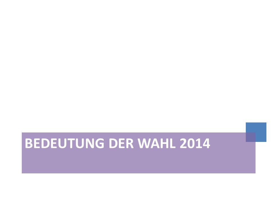 Umfragewerte Bekanntheitsgrad des EP in allen MS unverändert sehr hoch (84%-98%, Ö 95%) Vertrauen ins EP in Österreich im Zehn-Jahres-Vergleich etwas gesunken: Herbst 2003 50%; Höchststand 2004 mit 56%, 2013: 47% Nur knapp ein Drittel der EuropäerInnen sind der Meinung, dass ihre Stimme in der EU zählt (Österreich 34%) 6 Monate vor EP-Wahl: In Österreich können sich 78% Teilnahme vorstellen 2 von 3 jungen EuropäerInnen sowie ÖsterreicherInnen wollen bei der EP- Wahl 2014 wählen Nur etwa ein Viertel in Österreich fühlt sich sehr (3%) bzw.