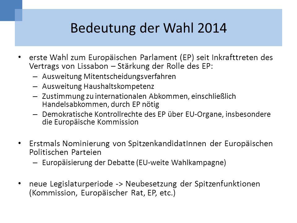 Bedeutung der Wahl 2014 erste Wahl zum Europäischen Parlament (EP) seit Inkrafttreten des Vertrags von Lissabon – Stärkung der Rolle des EP: – Ausweit