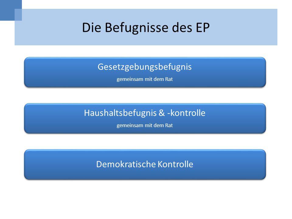 Die Befugnisse des EP Gesetzgebungsbefugnis gemeinsam mit dem Rat Haushaltsbefugnis & -kontrolle gemeinsam mit dem Rat Demokratische Kontrolle