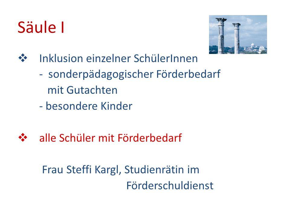 Säule I Inklusion einzelner SchülerInnen - sonderpädagogischer Förderbedarf mit Gutachten - besondere Kinder alle Schüler mit Förderbedarf Frau Steffi