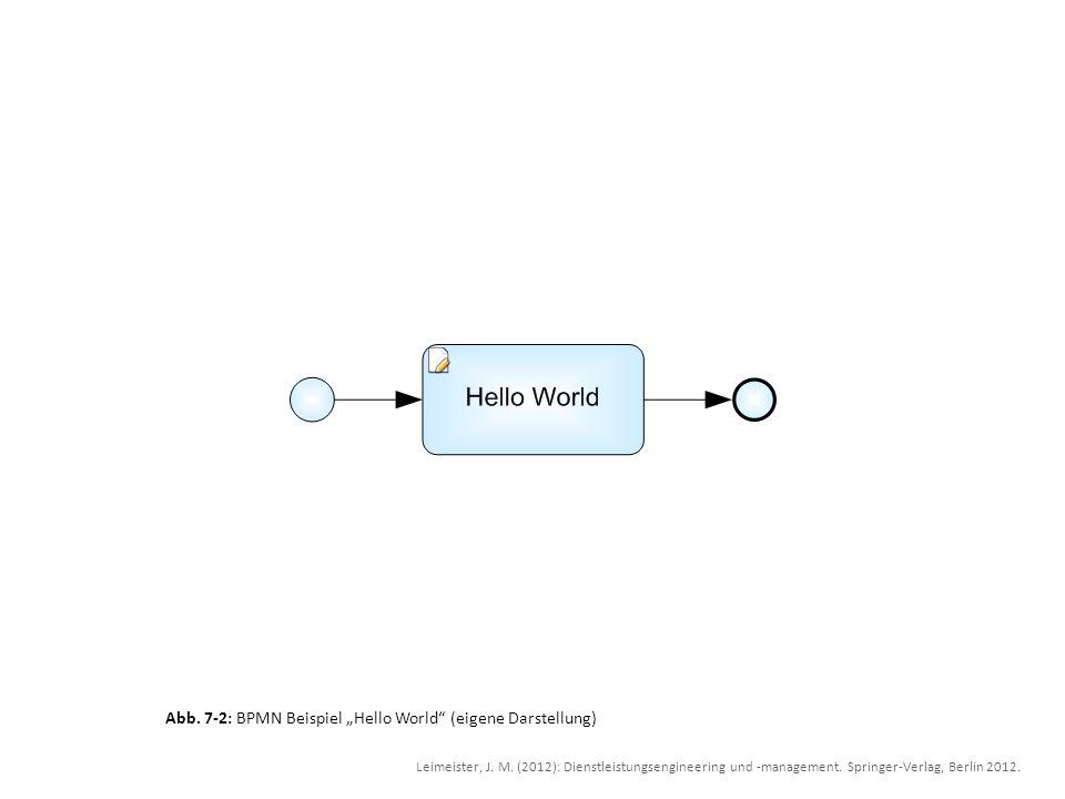 Abb. 7-2: BPMN Beispiel Hello World (eigene Darstellung) Leimeister, J. M. (2012): Dienstleistungsengineering und -management. Springer-Verlag, Berlin