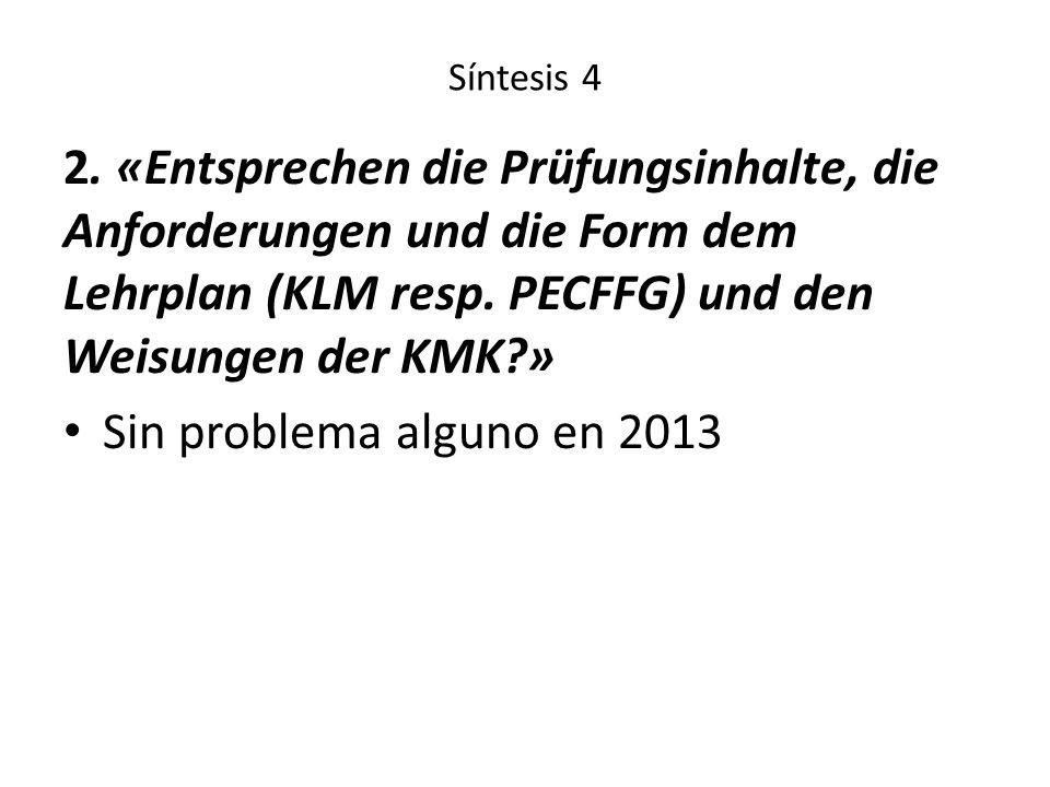 Síntesis 4 2. «Entsprechen die Prüfungsinhalte, die Anforderungen und die Form dem Lehrplan (KLM resp. PECFFG) und den Weisungen der KMK?» Sin problem