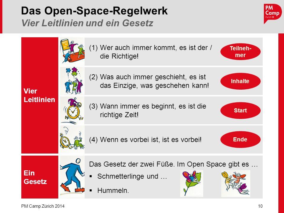 Vier Leitlinien Ein Gesetz Das Gesetz der zwei Füße. Im Open Space gibt es … Schmetterlinge und … Hummeln. 10 PM Camp Zürich 2014 Das Open-Space-Regel