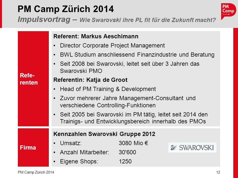12 PM Camp Zürich 2014 PM Camp Zürich 2014 Impulsvortrag – Wie Swarovski ihre PL fit für die Zukunft macht? Refe- renten Firma Kennzahlen Swarovski Gr