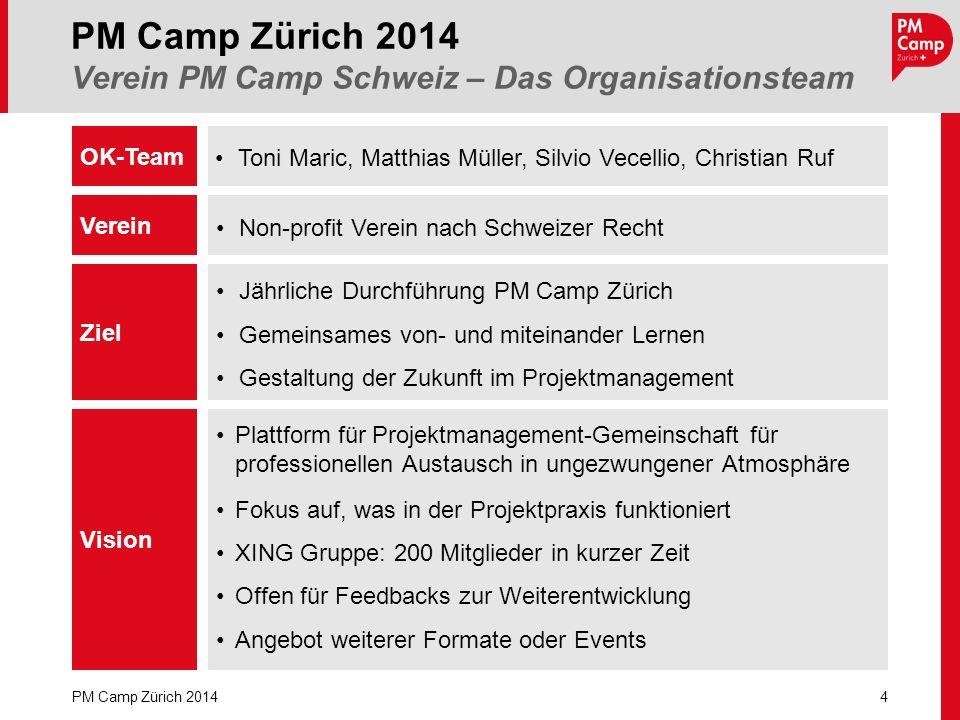 Toni Maric, Matthias Müller, Silvio Vecellio, Christian Ruf PM Camp Zürich 2014 Verein PM Camp Schweiz – Das Organisationsteam 4 PM Camp Zürich 2014 O