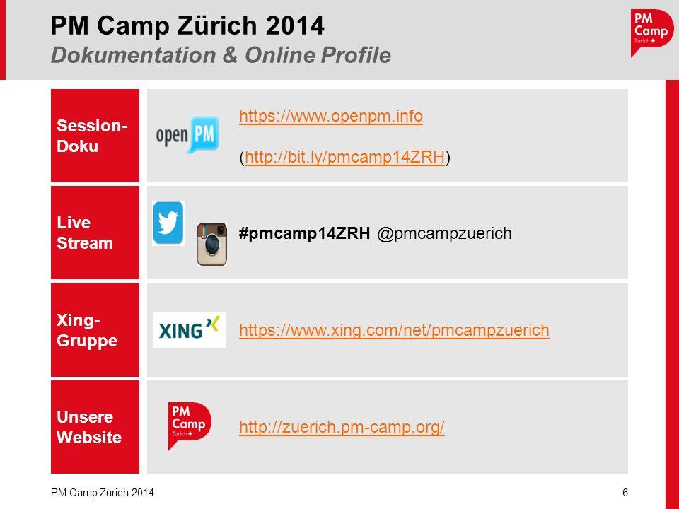 6 PM Camp Zürich 2014 PM Camp Zürich 2014 Dokumentation & Online Profile Session- Doku Live Stream https://www.openpm.info (http://bit.ly/pmcamp14ZRH)http://bit.ly/pmcamp14ZRH Xing- Gruppe Unsere Website https://www.xing.com/net/pmcampzuerich http://zuerich.pm-camp.org/ #pmcamp14ZRH @pmcampzuerich