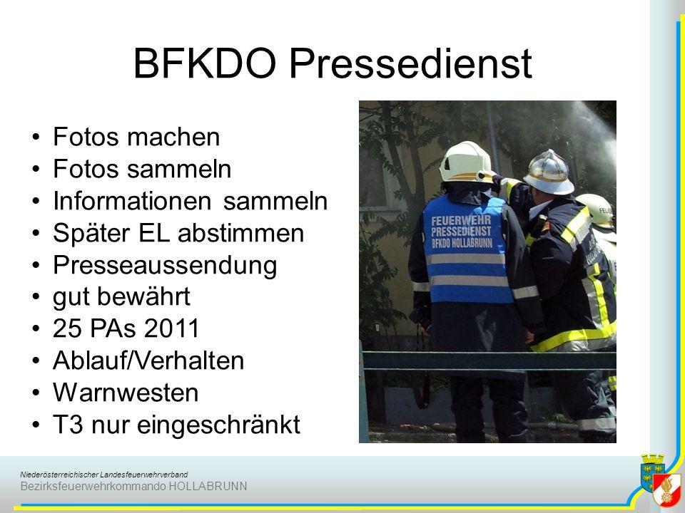Niederösterreichischer Landesfeuerwehrverband Bezirksfeuerwehrkommando HOLLABRUNN BFKDO Pressedienst Fotos machen Fotos sammeln Informationen sammeln