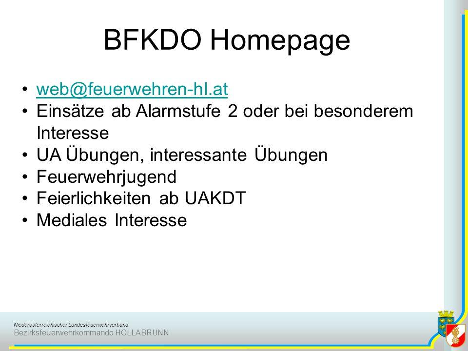 Niederösterreichischer Landesfeuerwehrverband Bezirksfeuerwehrkommando HOLLABRUNN BFKDO Homepage web@feuerwehren-hl.at Einsätze ab Alarmstufe 2 oder b