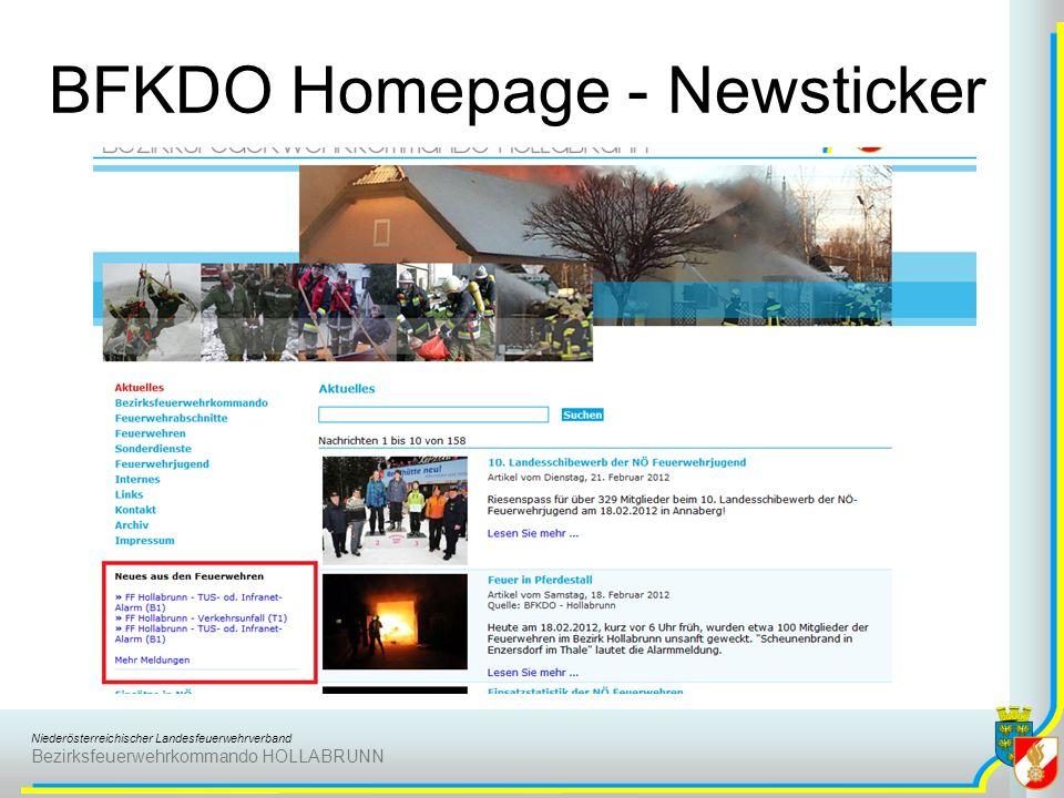Niederösterreichischer Landesfeuerwehrverband Bezirksfeuerwehrkommando HOLLABRUNN BFKDO Homepage - Newsticker