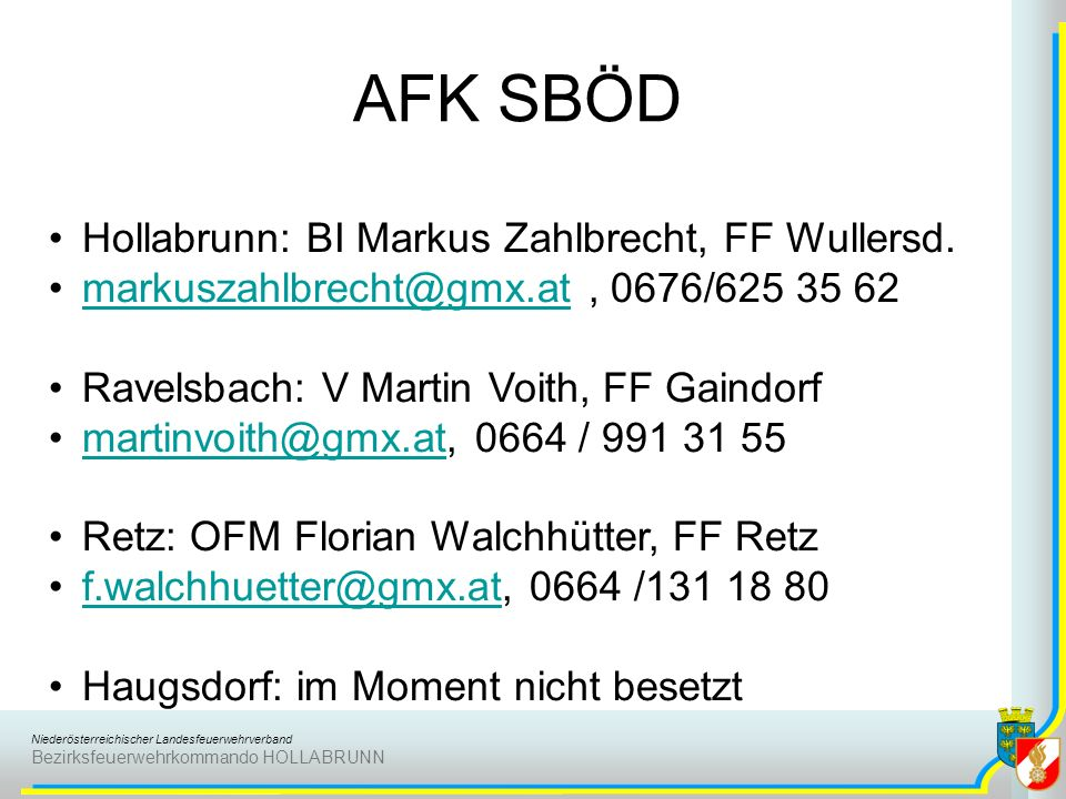 Niederösterreichischer Landesfeuerwehrverband Bezirksfeuerwehrkommando HOLLABRUNN AFK SBÖD Hollabrunn: BI Markus Zahlbrecht, FF Wullersd. markuszahlbr