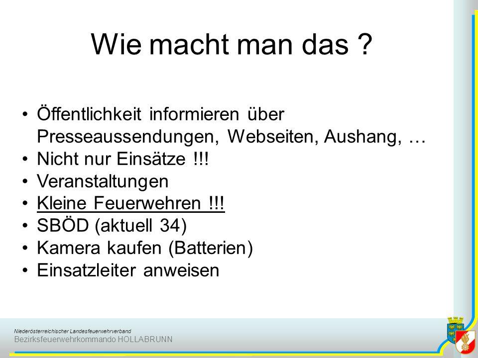 Niederösterreichischer Landesfeuerwehrverband Bezirksfeuerwehrkommando HOLLABRUNN Wie macht man das ? Öffentlichkeit informieren über Presseaussendung