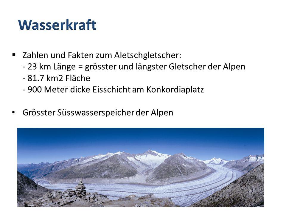 Zahlen und Fakten zum Aletschgletscher: - 23 km Länge = grösster und längster Gletscher der Alpen - 81.7 km2 Fläche - 900 Meter dicke Eisschicht am Ko