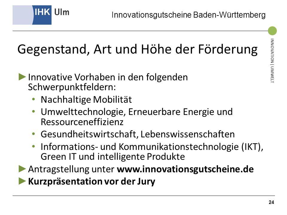Innovationsgutscheine Baden-Württemberg INNOVATION | UMWELT Gegenstand, Art und Höhe der Förderung Innovative Vorhaben in den folgenden Schwerpunktfel