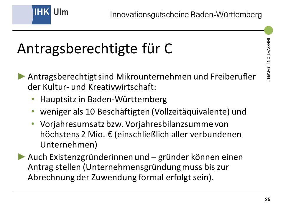 Innovationsgutscheine Baden-Württemberg INNOVATION | UMWELT Antragsberechtigte für C Antragsberechtigt sind Mikrounternehmen und Freiberufler der Kult