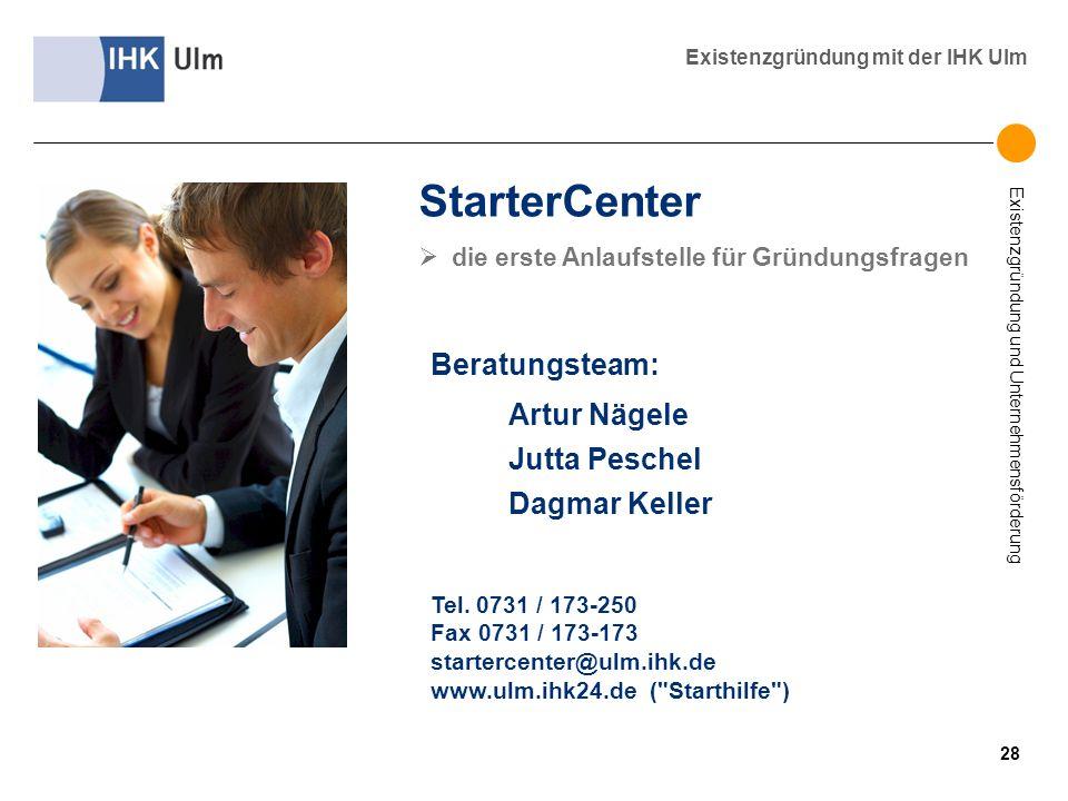 Existenzgründung und Unternehmensförderung Existenzgründung mit der IHK Ulm StarterCenter die erste Anlaufstelle für Gründungsfragen Beratungsteam: Ar