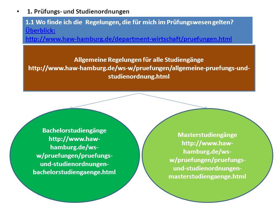 1.2Prüfungs- und Studienordnungen – Überblick über die Bachelorprüfungsordnungen Webseite Department: http://www.haw-hamburg.de/ws-w/pruefungen/pruefungs-und-studienordnungen-bachelorstudiengaenge.htmlhttp://www.haw-hamburg.de/ws-w/pruefungen/pruefungs-und-studienordnungen-bachelorstudiengaenge.html Prüfungs- und Studienordnungen der Bachelorstudiengänge Außenwirtschaft/Internationales Management Prüfungs- und Studienordnung 2012 Diese Prüfungs- und Studienordnung gilt für Studienanfänger ab dem Wintersemester 2013/14 Studiengangsspezifische Prüfungs- und Studienordnung Außenwirtschaft/Internationales Management vom 22.