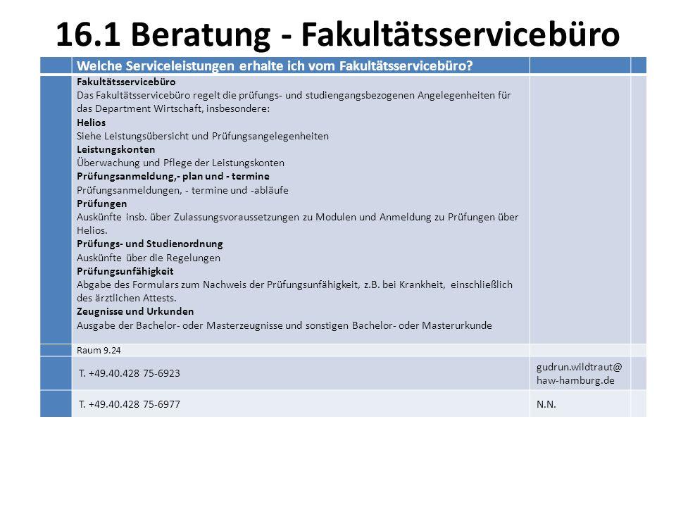 16.1 Beratung - Fakultätsservicebüro Welche Serviceleistungen erhalte ich vom Fakultätsservicebüro.