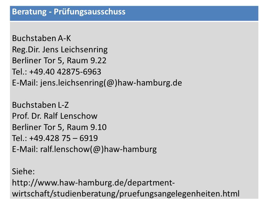 Beratung - Prüfungsausschuss Buchstaben A-K Reg.Dir. Jens Leichsenring Berliner Tor 5, Raum 9.22 Tel.: +49.40 42875-6963 E-Mail: jens.leichsenring(@)h