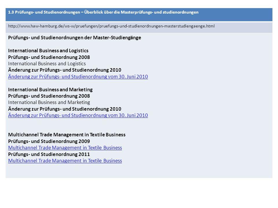 1.3 Prüfungs- und Studienordnungen – Überblick über die Masterprüfungs- und studienordnungen http://www.haw-hamburg.de/ws-w/pruefungen/pruefungs-und-studienordnungen-masterstudiengaenge.html Prüfungs- und Studienordnungen der Master-Studiengänge International Business and Logistics Prüfungs- und Studienordnung 2008 International Business and Logistics Änderung zur Prüfungs- und Studienordnung 2010 Änderung zur Prüfungs- und Studienordnung vom 30.