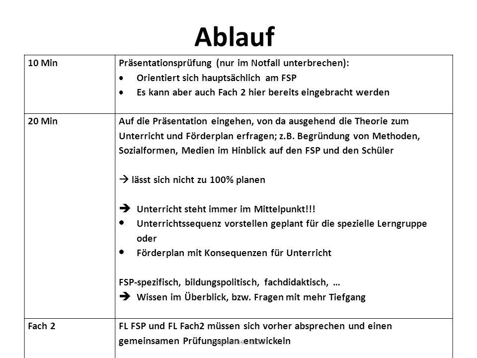 Ablauf 10 Min Präsentationsprüfung (nur im Notfall unterbrechen): Orientiert sich hauptsächlich am FSP Es kann aber auch Fach 2 hier bereits eingebrac
