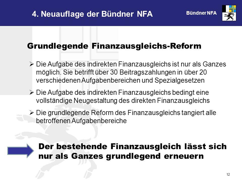 Bündner NFA 12 Grundlegende Finanzausgleichs-Reform Die Aufgabe des indirekten Finanzausgleichs ist nur als Ganzes möglich.