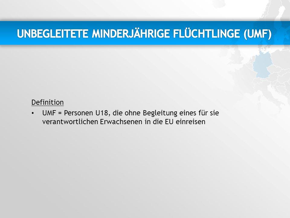 Definition UMF = Personen U18, die ohne Begleitung eines für sie verantwortlichen Erwachsenen in die EU einreisen